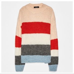 NWT. Bershka Knit Colour Block Sweater. Size XS.